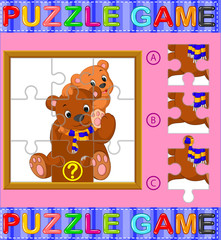 Jigsaw Puzzle Education Game for Preschool Children with bear