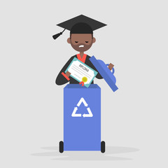 Crisis of education. Disappointed black graduate throwing out the diploma. Paper recycling container. Flat editable vector illustration, clip art