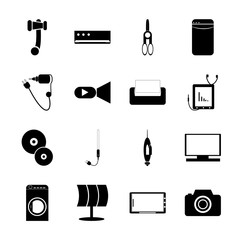 icon Technology with oven, shoot, data, eletronic and router
