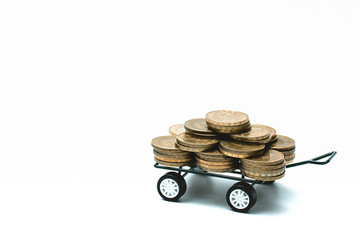 Taiwan Coin stacks and trolley on a white background
