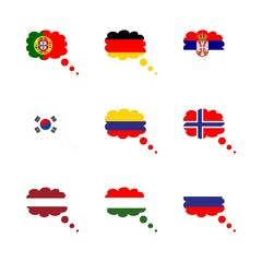 icon Flag with columbia, southern corea, hungary flag, serbia flag and columbia flag