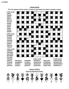 Puzzle page with two puzzles: big 19x19 criss-cross word game (English language) and small visual puzzle with whimsical arrows.  Black and white, A4 or letter sized. Answers are on separate file