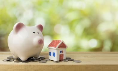 piggy bank save money for house , saving money concept