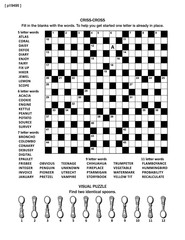 Puzzle page with two puzzles: big 19x19 criss-cross word game (English language) and small visual puzzle with spoons. Black and white, A4 or letter sized. Answers are on separate file