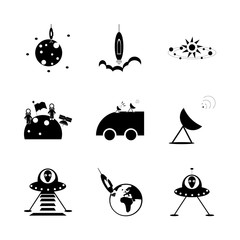 icon Cosmos with astronomy, alien, satellite plate, cosmos and earth