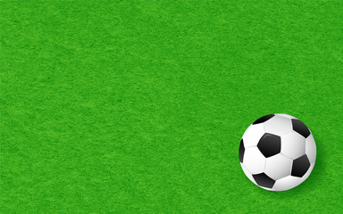 Soccer background illustration. Football on green grass texture background.