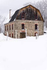 Rustic & Historic Wood & Stone Barn - Snow - New York