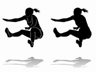 silhouette of a long jumper , vector draw