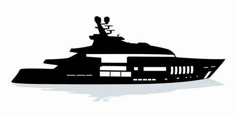 silhouette of yacht. vector drawing