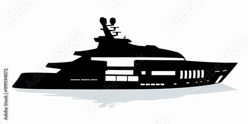 silhouette of yacht  vector drawing
