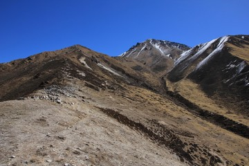 Path leading to the top of mount Tserko Ri, Langtang National Park, Nepal. Popular viewpoint.