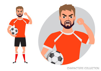 The evil soccer player threatens with his hand. Angry football player. Negative Emotions. Bad Days. Bad Mood Stressful men