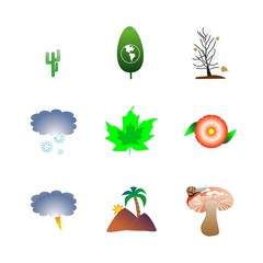 icon Nature with fair-mushroom, tropical, cloud, tree and travel