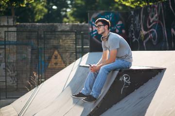 Young man at skate park