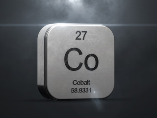Cobalt element from the periodic table. Metallic icon 3D rendered with nice lens flare
