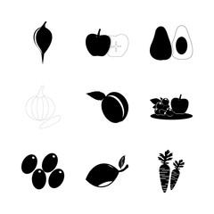 icon Fruits And Vegetables with lemon tree, vitamin, mango tree, lemon and olive crow