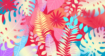 Tropical leaves background for banner poster or sales plakad. Vibrancy color and hawaii style
