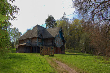 a fabulous house in a forest clearing, Russia