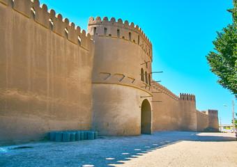 The facade wall of Rayen citadel, Iran
