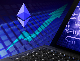 Ethereum illustration with the schedule up on the background of laptop, 3D illustration