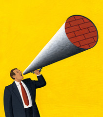 Illustration of a man talking into a megaphone blocked by bricks