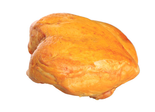 smoked chicken breast on a white background
