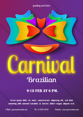 Flyer design for Carnival festival 2018 at Brazil. Template of holiday with copy space in paper craft style.