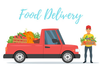 fruit and vegetables delivery car