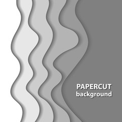 Vector background with white paper cut shapes. 3D abstract paper art style, design layout for business presentations, flyers, posters, prints, decoration, cards, brochure cover.