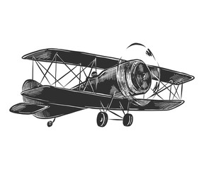 Vector engraved style illustration for posters, decoration and print. Hand drawn sketch of airplane in monochrome isolated on white background. Detailed vintage woodcut style drawing.