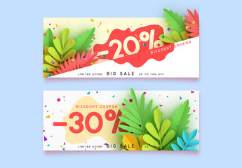 Horizontal sale banner border. Discount coupon cards, headers website. Vector design paper art. Price offer posters, flyers brochure. Design of tropical leaves of different colors in style paper art