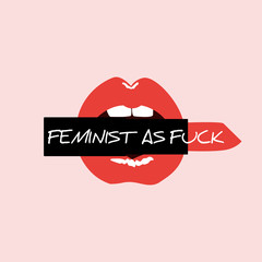 Red open lips with lipstick and feminist lettering: Feminist as fuck. Feminism quote, woman motivational slogan. Modern print in pop art style. Feminist glamour mouth Vector illustration.