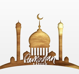 Ramadan greeting card with calligraphy Ramadan Kareem. Islamic background half a month with mosques in golden luxury gradient texture