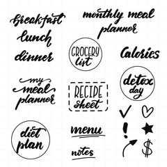 Set of lettering phrases for meal planners. Vector illustration.
