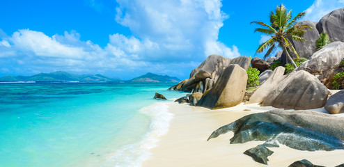 Source d'Argent Beach at island La Digue, Seychelles - Beautifully shaped granite boulders and rock...