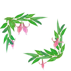 watercolor illustration green leaves with pink flowers