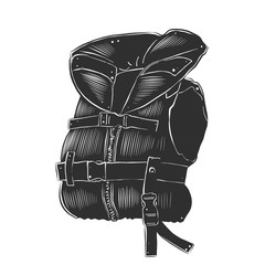 Vector engraved style illustration for posters, decoration and print. Hand drawn sketch of life vest in monochrome isolated on white background. Detailed vintage woodcut style drawing.