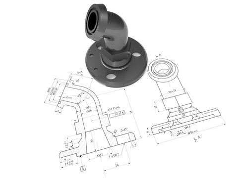 Metallic engineering flange 2D technical drawing