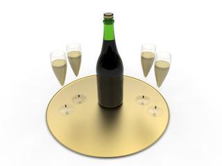 3D golden champaign