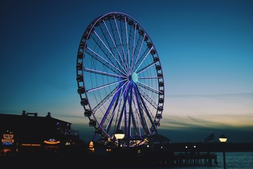 A picture of the Seattle Great Wheel at Sunset