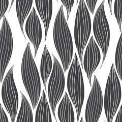 Monochrome seamless pattern of abstract leaves on a white background.