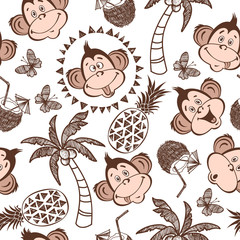 Seamless vector pattern with cute monkeys, palm trees, pineapple, coconut cocktails. Summer cartoon background.
