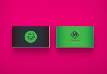 2 Horizontal Business Cards on Pink Mockup