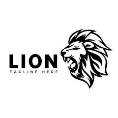 Cartoon roaring head lion art logo