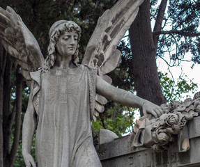 Statue in the cemetery of Montjuic in Barcelona