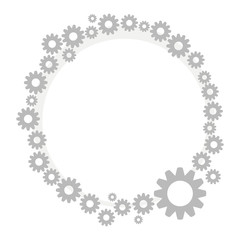 wreath border gray metallic technical steampunk from small and large gears isolated on white background vector drawing