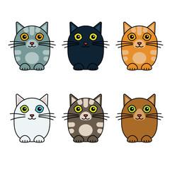 six cute vector cats