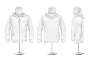 Vector 3d realistic white hoodie, front, back, side view of sweatshirt. Mockup template for clothing on white background. Fashion long sleeve on mannequin, hooded pullover. Unisex, women, men hoody