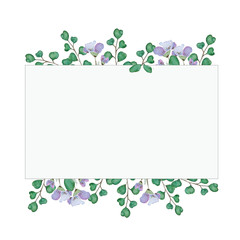 watercolor illustration of branches and flowers in a rectangular frame
