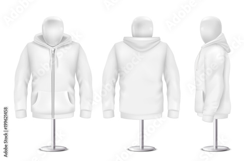 Vector 3d realistic white hoodie, front, back, side view of ...